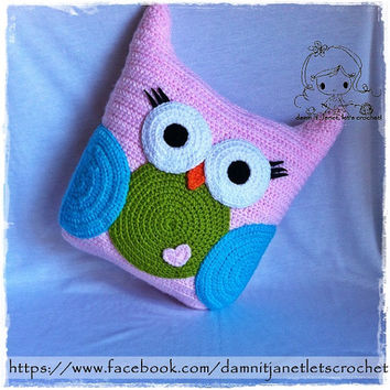 Free Crochet Owl Cushion Pillow Pattern : Shop Crochet Pillow Pattern on Wanelo