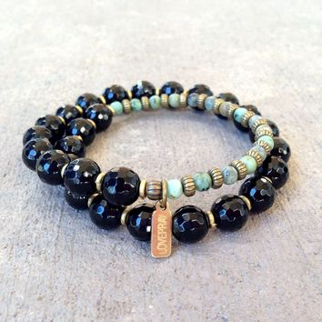 Soothing and Change, Onyx and African Turquoise 27 Bead Wrap Mala Bracelet