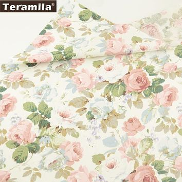 Teramila Fabric New Printed Blooming Rose Flower Designs Soft Twill Tissue 100% Cotton Material Bed Sheet Quilting Patchwork