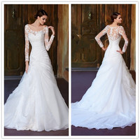 Sheer Skirt  Lace Wedding Dresses Scoop Long Sleeves Appliques Beaded Ruffles Covered Button A-Line Sweep Train