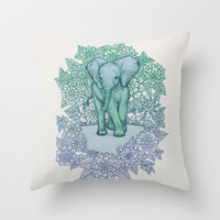 Emerald Elephant in the Lilac Evening Throw Pillow by micklyn