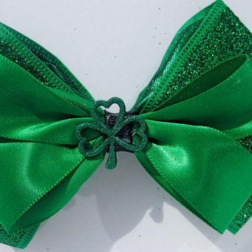 St. Patricks Day Sparkly Hair Bow in Green
