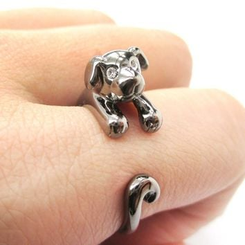 Adorable Puppy Dog Shaped Animal Wrap Around Ring in Gunmetal Silver | US Sizes 4 to 9