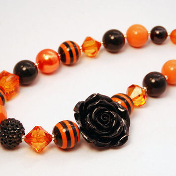 Halloween Necklace Girls Boutique Jewelry Bubble Gum Beaded Flower Necklace Orange and Black