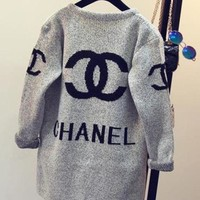 Chanel Fashion Women Casual Long Sleeve Print Hoodie Sweater Knit Cardigan Jacket Coat I