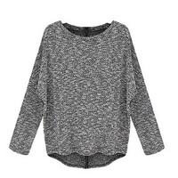 Tp Sky Women Long Sleeve Loose Back Zipper Knitted Pullover Sweater M Dark Gray