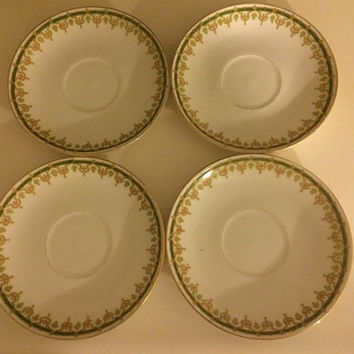 Vintage Haviland Limoges France Green Tea Saucers Set of 4