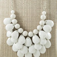 Layer Beaded Necklace, White