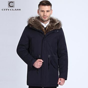 Winter Fur Jacket Men Removable Raccoon Hood Long Parka Men Casual Jackets and Coats Cotton Fabric Camel Wool