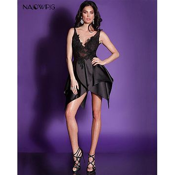 Najowpjg 2017 New Arrive Fsahion Ruffles Black Cocktail Dress Mini Summer Delicate Appliques Vestido V-Neck Party Dress Hot Sale