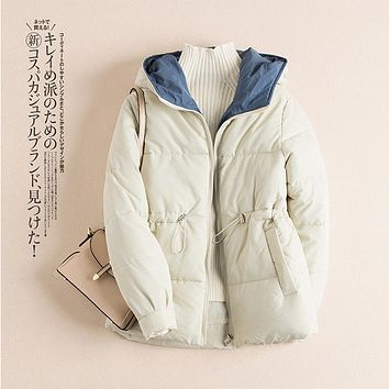 Down jacket pure color with thick down clothes hidden-interlocking hooded cotton-padded jacket 903