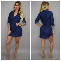 Collared V-Neck Long Sleeve Denim Dress