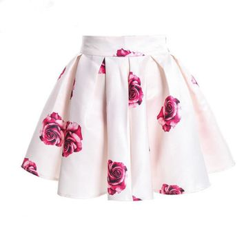 2016 New Summer Style Flower print pleated short skirt Sexy party and beach club wear novelty and casual skirts womens