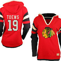 Old Time Hockey Chicago Blackhawks Jonathan Toews Women's Avalon Hooded Long Sleeve T-shirt
