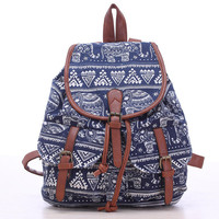 Blue Elephant Lightweight Canvas Backpack