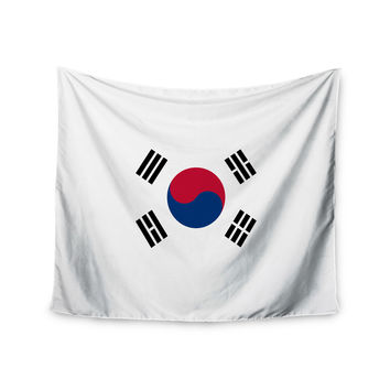 "Bruce Stanfield ""Flag of Korea"" White Digital Wall Tapestry"