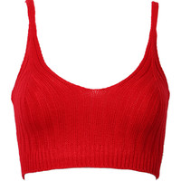 Red Knit Crop Cami Vest