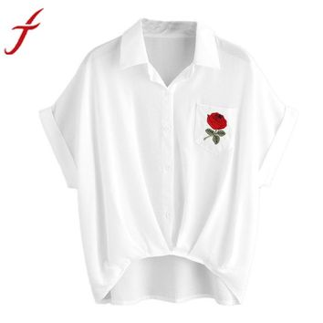 Womens Rose Embroidery T-Shirt Ladies Flower Printing Blusas Sexy V Neck Short Sleeve Shirt Women Pocket Elective shirt