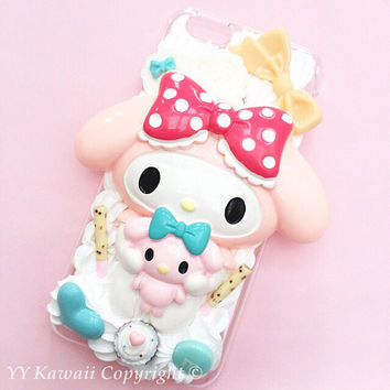 My Melody or Kuromi Kawaii silicone Decoden phone case for IPhone 4S, iPhone 5 5s 5c or Samsung Galaxy S2 S3 S4 or HTC One