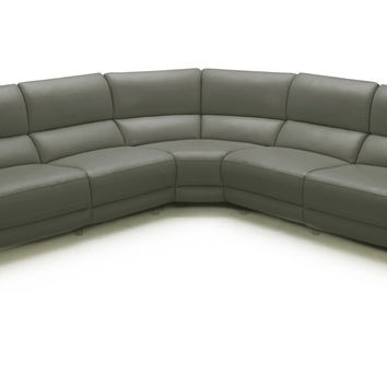 Divani Casa Tilden Modern Dark Grey Eco-Leather Sectional Sofa w/ Recliners - VGKK1860-ECO-DKGRY