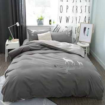 Cool 100%Cotton Grey Brown Bedding Set Queen King size Deer Elephant bed set cotton Bedsheets Duvet quilt cover set PillowcaseAT_93_12