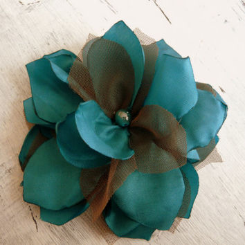 Wedding Turquoise Green Hair Fascinator, Turquoise Blue Bridal Hair Clip, Tulle Hair Flower, Blue Brown Fascinator