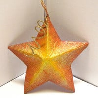 Sparkly Gold Hand Painted Glitter Star Christmas Ornament