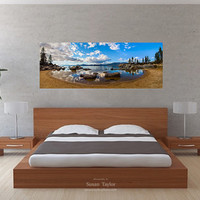 Oversized California Panorama, Lake Tahoe Panorama, Sand Harbor, Sierra Nevada Print, Tahoe Shore Canvas, Gallery Wrap, Fine Art, Beach Art