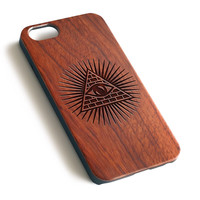 Illuminati Pyramid OM Natural wood precise laser engraved iPhone case WA124