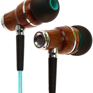 Symphonized NRG 2.0 Earbuds | Wood In-ear Noise-isolating Headphones | Earphones with Mic and Innovative Shield Technology Cable (Turquoise) Turquoise