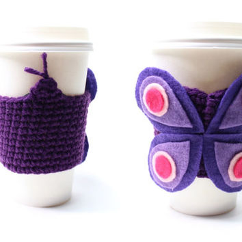 Butterfly Coffee Cozy, Crochet Coffee Sleeve, Java Jacket, Animal Can Koozie, Travel Drink Cup Holder