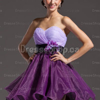 Cheap prom dresses — A-line Sweetheart Organza Satin Short/Mini Flowers Homecoming Dress at Dresseshop.ca