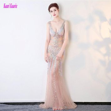 Brilliant Transparent Prom Dresses Long 2017 Sexy Party Evening Gowns V-Neck Tulle Crystal Beading Formal Prom Dress Real Photos