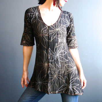 Womens Handmade Top, Black Jersey Tunic Top, Deep V Neck Shirt with Sleeves, Metallic Floral Print Tunic, Silky Modern Bohemian Style Top