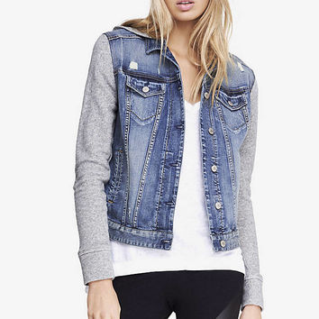 SWEATSHIRT SLEEVE HOODED DENIM JACKET from EXPRESS