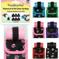 Five Star Pets Dog Walk Waste Bag Dispenser Holder Red Paw Prints