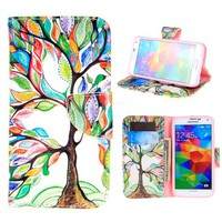 "For Galaxy S5 , ivencase Tree and Leaf [Magnetic] Wallet PU Leather [Closure] Folio Stand Protective Case Cover for Samsung Galaxy S5 SV + One ""ivencase "" Anti-dust Plug Stopper"