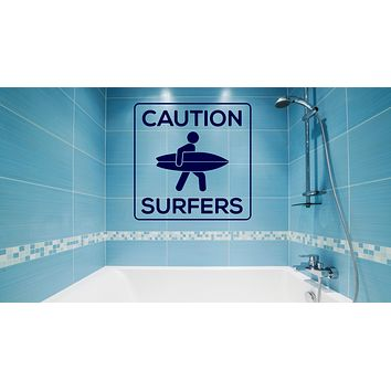 Wall Sticker Vinyl Decal White Black Square Board Caution Sign Surfer (n962)