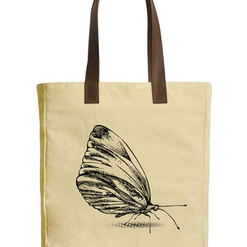 Butterfly Hand Drawing Beige Printed Canvas Tote Bags Leather Handles WAS_30