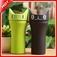 Free Shipping Coffee Thermo Cat Mug Tea Water Cups Stainless Steel Vacuum Thermos Cup Thermal Mugs Heat Insulation Vacuum Flasks