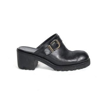 90s Slip On Clogs Black Chunky Heels Backless Mules Black Leather Round Toe Minimalist Vintage Buckle Shoes (9.5)