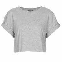 Roll Back Crop Tee - Grey Marl