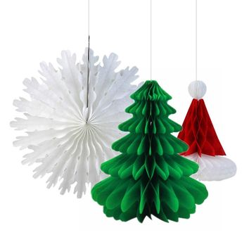 3pc Retro Christmas Paper Honeycomb Decorations (Santa Hat,Snowflake Paper Fan, Honeycomb Tree) Celebrations & Occasions