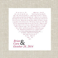 10x10 Custom Lyrics Canvas- song lyrics canvas, lyrics on canvas, words in heart shape, 10x10 wedding canvas, canvas vows, canvas wrap