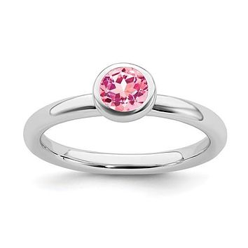 Sterling Silver Stackable Expressions 5mm Round Low Set Pink Tourmaline Ring