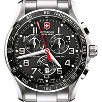 Men's Victorinox Swiss Army 'Chrono Classic XLS' Stainless Steel Bracelet Watch, 45mm - Black Silver