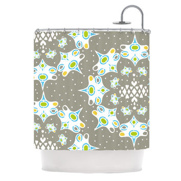 "Miranda Mol ""Ornamental Splash Silver"" Gray Shower Curtain"
