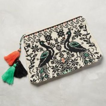 Embroidered Peacocks Pouch by Star Mela Ivory/black All Clutches