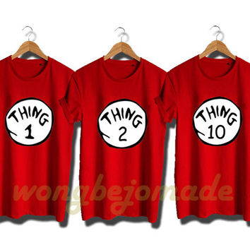 Thing 1 Thing 2 Shirt Halloween Christmas Costume Funny Thing Tshirt Red Color Unisex T-Shirt
