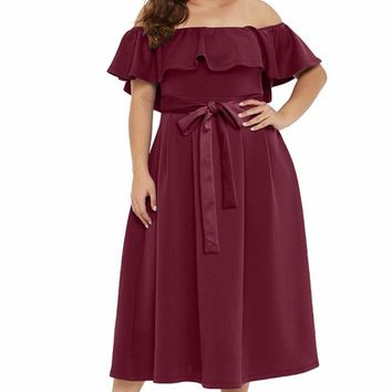 Red Beat To It Plus Size Off-the-shoulder Dress